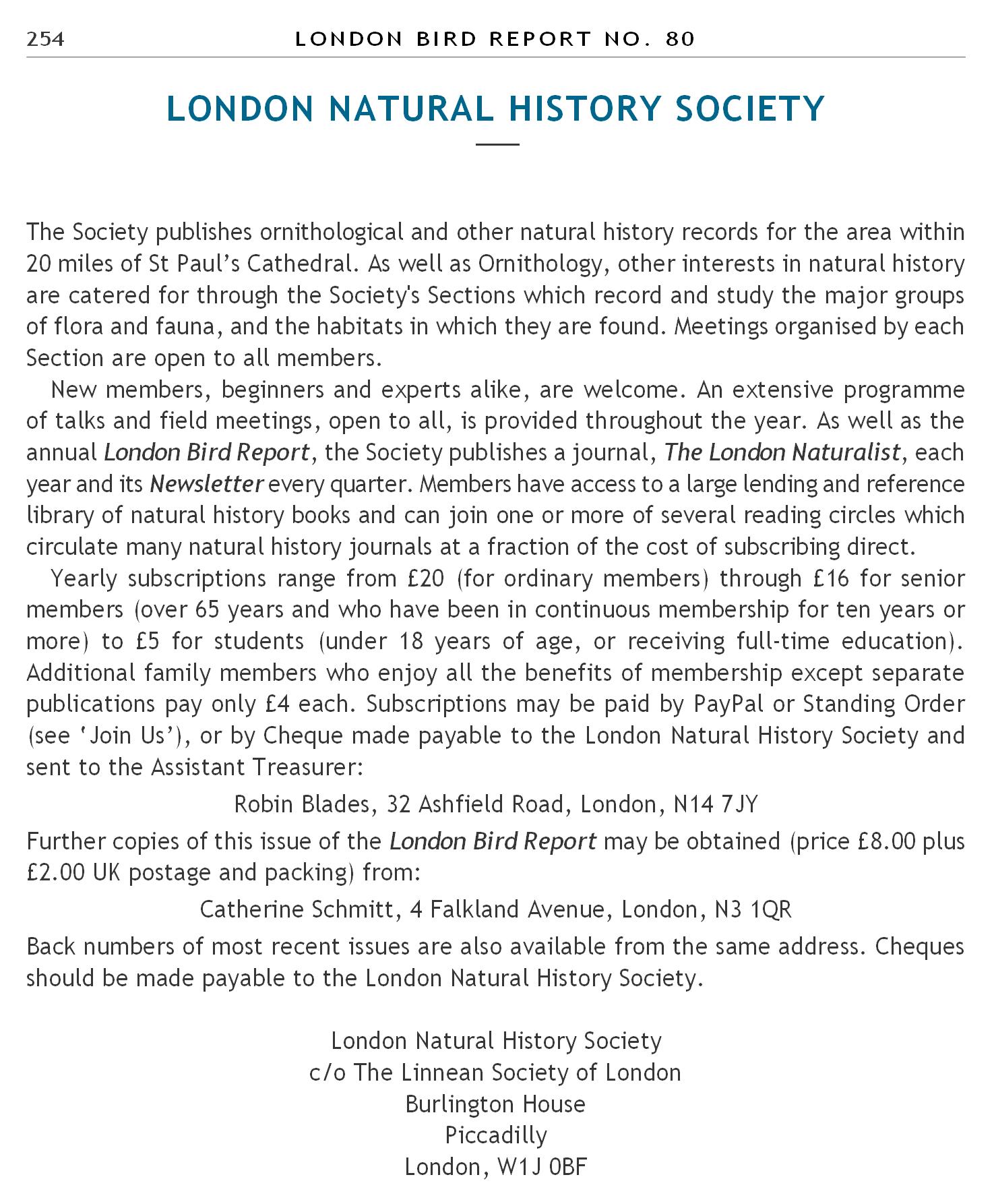 london natural history society london bird report